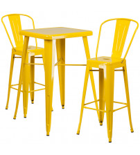 Flash Furniture CH-31330B-2-30GB-YL-GG Metal Bar Table Set in Yellow