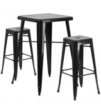Flash Furniture CH-31330B-2-30SQ-BK-GG Metal Bar Table Set in Black