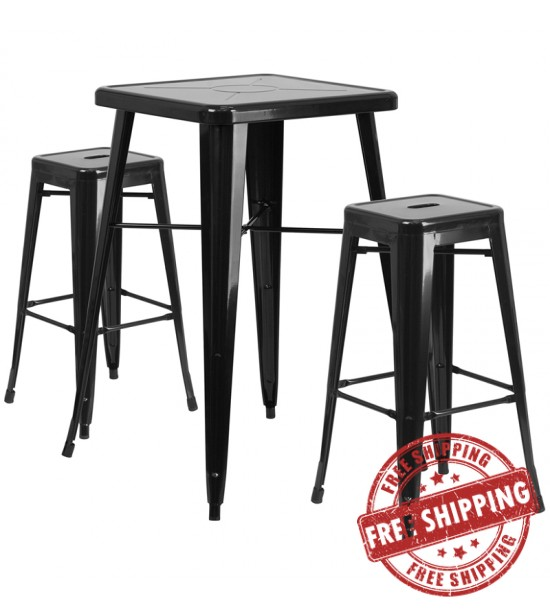 Flash Furniture CH-31330B-2-30SQ-BK-GG Metal Bar Table Set in Black