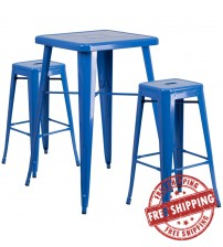 Flash Furniture CH-31330B-2-30SQ-BL-GG Metal Bar Table Set in Blue