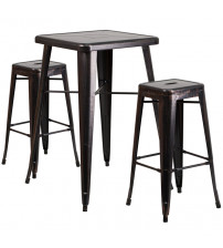 Flash Furniture CH-31330B-2-30SQ-BQ-GG Antique Metal Bar Table Set in Black