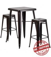 Flash Furniture CH-31330B-2-30SQ-BQ-GG Antique Metal Bar Table Set in Black