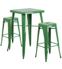 Flash Furniture CH-31330B-2-30SQ-GN-GG Metal Bar Table Set in Green
