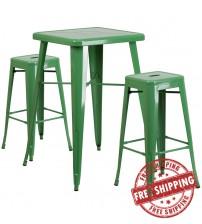 Flash Furniture CH-31330B-2-30SQ-GN-GG Metal Bar Table Set in Green