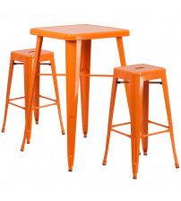 Flash Furniture CH-31330B-2-30SQ-OR-GG Metal Bar Table Set in Orange