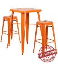 Flash Furniture CH-31330B-2-30SQ-OR-GG Metal Bar Table Set in Orange