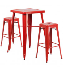 Flash Furniture CH-31330B-2-30SQ-RED-GG Metal Bar Table Set in Red