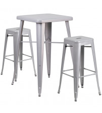 Flash Furniture CH-31330B-2-30SQ-SIL-GG Metal Bar Table Set in Silver