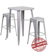 Flash Furniture CH-31330B-2-30SQ-SIL-GG Metal Bar Table Set in Silver