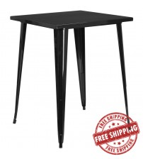 "Flash Furniture CH-51040-40-BK-GG 31.5"" Square Bar Height Black Metal Indoor-Outdoor Table"