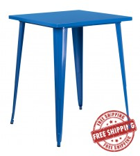 "Flash Furniture CH-51040-40-BL-GG 31.5"" Square Bar Height Blue Metal Indoor-Outdoor Table"
