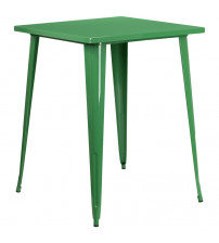 "Flash Furniture CH-51040-40-GN-GG 31.5"" Square Bar Height Green Metal Indoor-Outdoor Table"