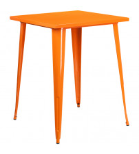"Flash Furniture CH-51040-40-OR-GG 31.5"" Square Bar Height Orange Metal Indoor-Outdoor Table"