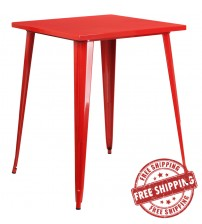 "Flash Furniture CH-51040-40-RED-GG 31.5"" Square Bar Height Red Metal Indoor-Outdoor Table"