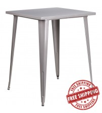 "Flash Furniture CH-51040-40-SIL-GG 31.5"" Square Bar Height Silver Metal Indoor-Outdoor Table"