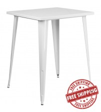 "Flash Furniture CH-51040-40-WH-GG 31.5"" Square Bar Height White Metal Indoor-Outdoor Table"