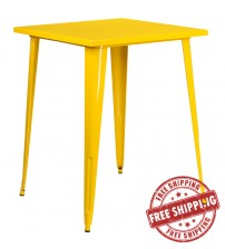 "Flash Furniture CH-51040-40-YL-GG 31.5"" Square Bar Height Yellow Metal Indoor-Outdoor Table"