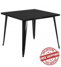 "Flash Furniture CH-51050-29-BK-GG 35.5"" Square Black Metal Indoor-Outdoor Table"
