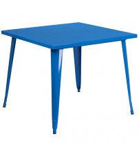 "Flash Furniture CH-51050-29-BL-GG 35.5"" Square Blue Metal Indoor-Outdoor Table"