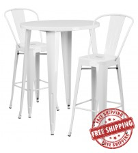 """Flash Furniture CH-51090BH-2-30CAFE-WH-GG 30"""" Round Metal Bar Table Set with Cafe Barstools in White"""