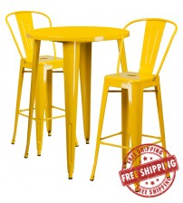"""Flash Furniture CH-51090BH-2-30CAFE-YL-GG 30"""" Round Metal Bar Table Set with Cafe Barstools in Yellow"""