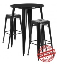 """Flash Furniture CH-51090BH-2-30SQST-BK-GG 30"""" Round Bar Table Set with Backless Barstools in Black"""