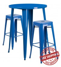 """Flash Furniture CH-51090BH-2-30SQST-BL-GG 30"""" Round Bar Table Set with Backless Barstools in Blue"""