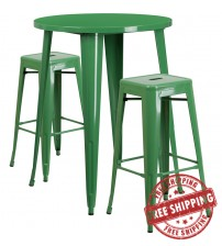 """Flash Furniture CH-51090BH-2-30SQST-GN-GG 30"""" Round Bar Table Set with Backless Barstools in Green"""