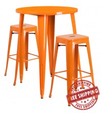 """Flash Furniture CH-51090BH-2-30SQST-OR-GG 30"""" Round Bar Table Set with Backless Barstools in Orange"""