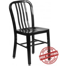 Flash Furniture CH-61200-18-BK-GG Black Metal Indoor-Outdoor Chair