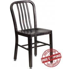 Flash Furniture CH-61200-18-BQ-GG Black-Antique Gold Metal Indoor-Outdoor Chair