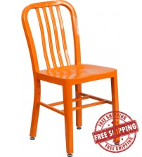 Flash Furniture CH-61200-18-OR-GG Orange Metal Indoor-Outdoor Chair