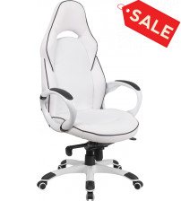 Flash Furniture CH-CX0496H01-GG High Back White Vinyl Executive Swivel Office Chair with Black Trim