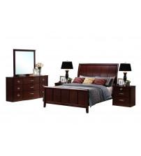 Baxton Studio CJ8 King 5PC set Argonne King Wooden Modern Bedroom Set in Dark Brown