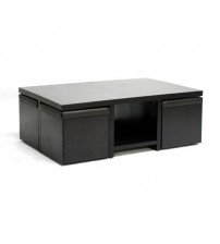Baxton Studio Coffee Table with Nesting Stools Dark Brown CT-1190-CTS-1190
