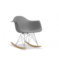 Baxton Studio DC-311W-GREY Dario Plastic Mid-Century Modern Rocking Chair