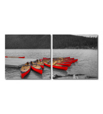 Baxton Studio De-3070Ab Crimson Canoes Mounted Photography Print Diptych
