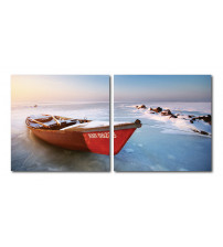 Baxton Studio De-3071Ab Seasonal Seashore Mounted Photography Print Diptych