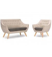 Baxton Studio DO-6273 2PC Set Astrid Mid-century Grey Fabric Living room Set