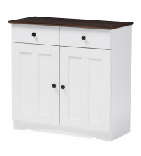 Baxton Studio DR 883400-White/Wenge Lauren Two-Tone Buffet Kitchen Cabinet with Two Doors and Drawers