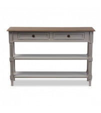 Baxton Studio EDD9VM/M-B-W1 Edouard White Wash Distressed Two-tone 2-Drawer Console Table
