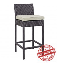 Modway EEI-1006-EXP-BEI Convene Outdoor Patio Fabric Bar Stool in Espresso Beige