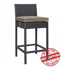 Modway EEI-1006-EXP-MOC Convene Outdoor Patio Fabric Bar Stool in Espresso Mocha