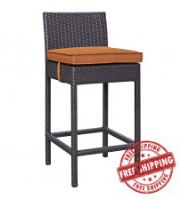 Modway EEI-1006-EXP-ORA Convene Outdoor Patio Fabric Bar Stool in Espresso Orange
