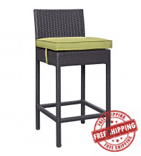 Modway EEI-1006-EXP-PER Convene Outdoor Patio Fabric Bar Stool in Espresso Peridot