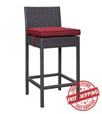 Modway EEI-1006-EXP-RED Convene Outdoor Patio Fabric Bar Stool in Espresso Red