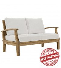 Modway EEI-1144-NAT-WHI-SET Marina Outdoor Patio Teak Loveseat Natural White