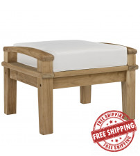 Modway EEI-1152-NAT-WHI-SET Marina Outdoor Patio Teak Ottoman in Natural White