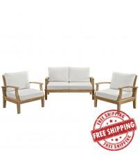 Modway EEI-1470-NAT-WHI-SET Marina 3 Piece Outdoor Patio Teak Sofa Set in Natural White