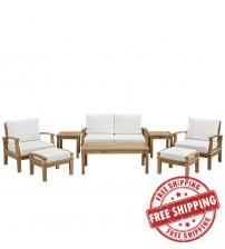 Modway EEI-1471-NAT-WHI-SET Marina 8 Piece Outdoor Patio Teak Sofa Set in Natural White